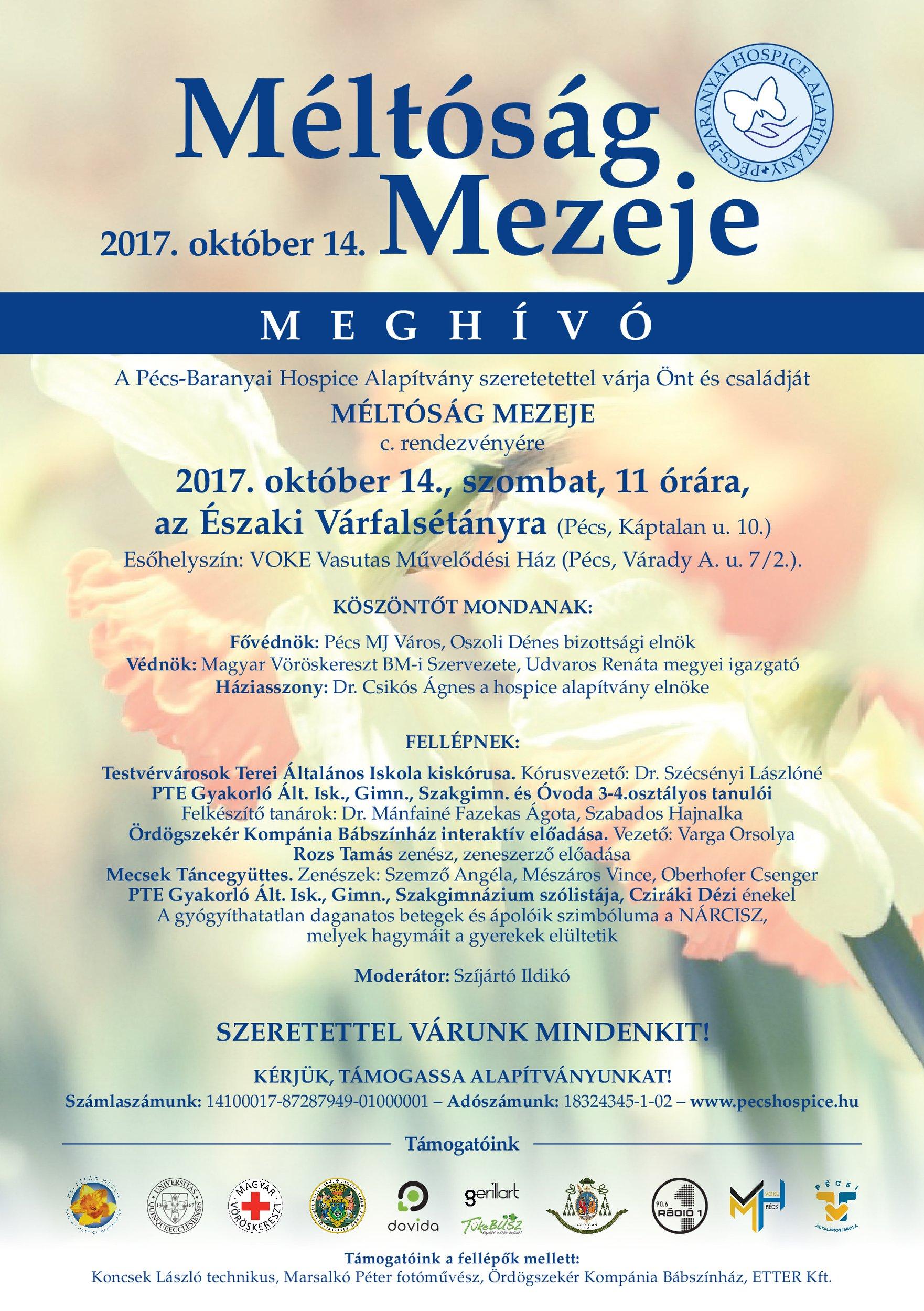 Pécs-Baranyai Hospice Alapítvány: Méltóság Mezeje 2017