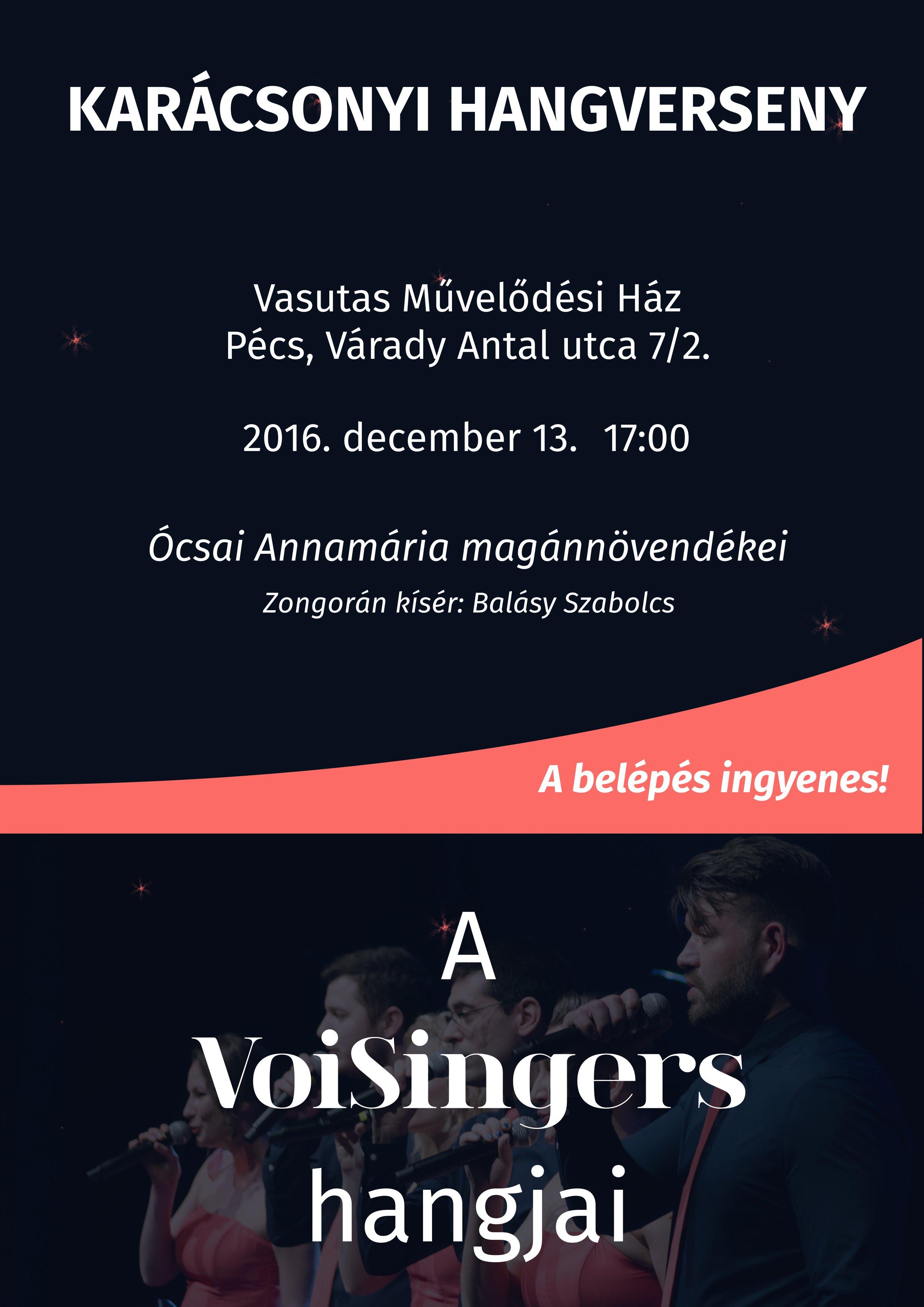 Ingyenes VoiSingers Karácsonyi Hangverseny a Vasutasban